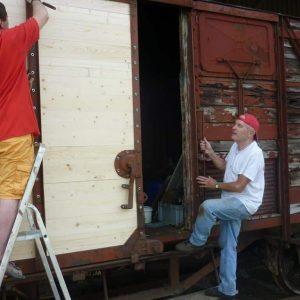 Réparation du wagon fermé